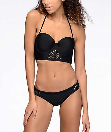Malibu Surfs Up bottom de bikini láser cortado en negro