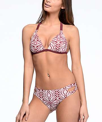 Malibu The Dive Burgundy Tie Dye Hipster Bikini Bottom