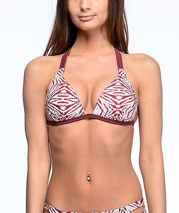 Malibu The Dive top de bikini push up moldeada en color vino