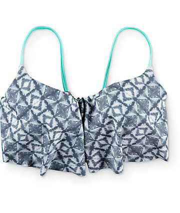Malibu Tie Dye Trip Grey & Mint Flounce Bikini Top