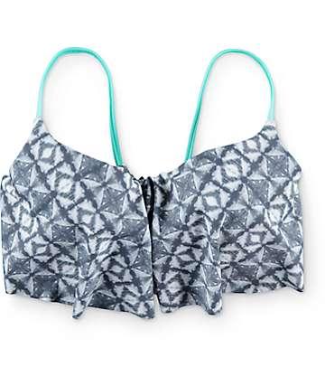 Malibu Tie Dye Trip top de bikini con volante en gris y color menta