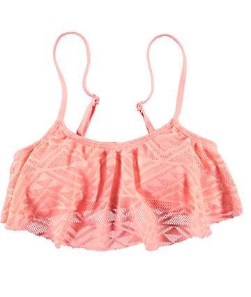 Malibu Walk This Way Coral Flounce Bathing Suit Top