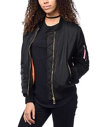 Married To The Mob Anna chaqueta bomber en negro