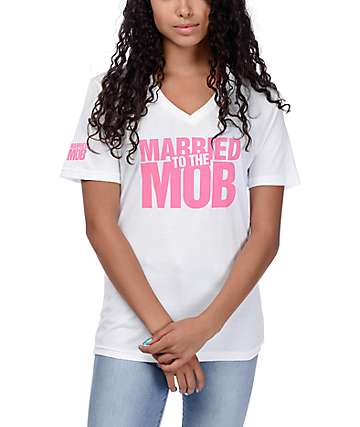 Married To The Mob Box Logo White V-Neck T-Shirt