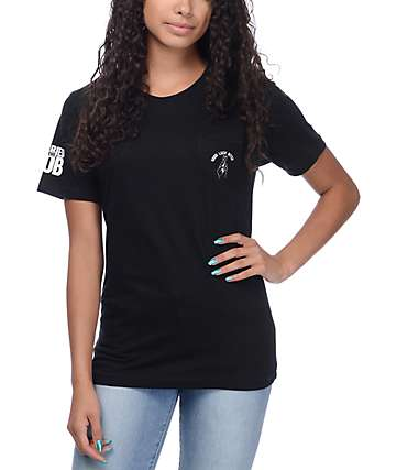 Married To The Mob Good Luck Black Pocket T-Shirt