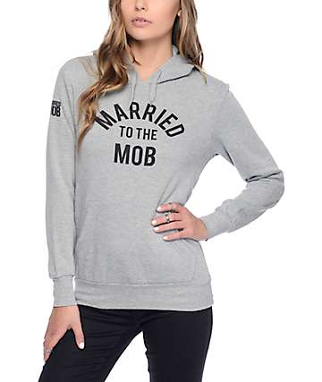 Married To The Mob Grey Pullover Hoodie
