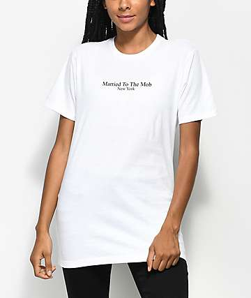 Married To The Mob Title White T-Shirt
