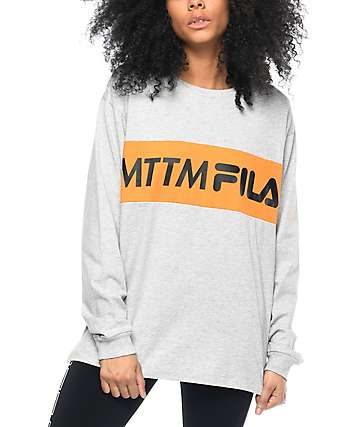 Married To The Mob x Fila First Place camiseta gris de manga larga