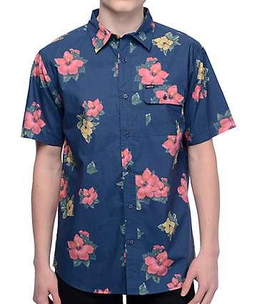 Matix Hawaiian camisa tejida en azul
