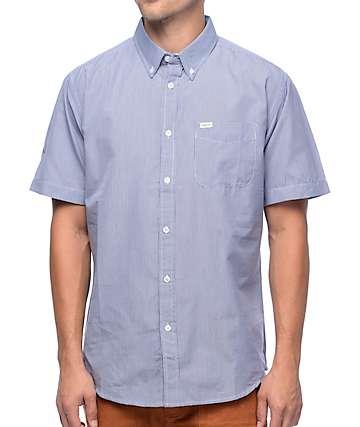 Matix Hyde Blue & White Gingham Plaid Short Sleeve Button Up Shirt
