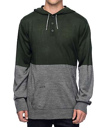 Matix Nordic Green & Grey Henley Hooded Sweater