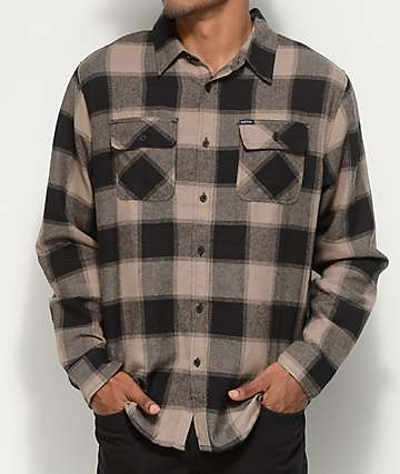 Matix Redding Khaki & Black Button Up Flannel Shirt