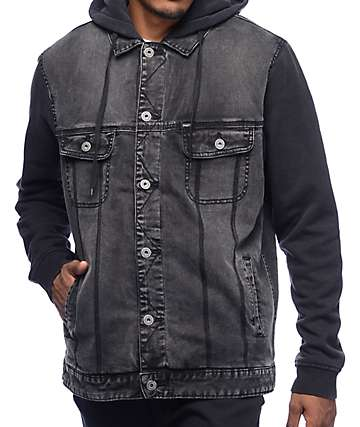 Matix Union Trucker Grey Denim Fleece Jacket