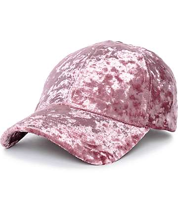 Mauve Crushed Velvet Baseball Hat