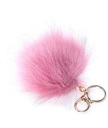 Mauve Fuzzy Bag Charm