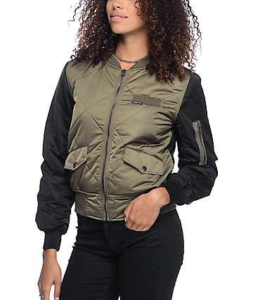 Members Only Olive & Black Quilted Bomber Jacket