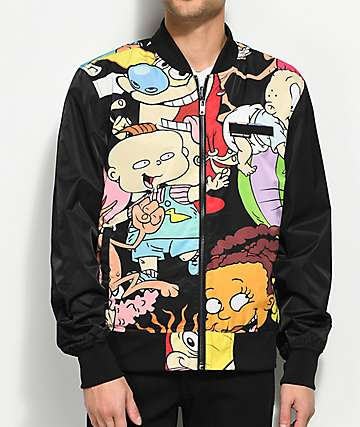 Members Only x Nickelodeon Reversible Black Bomber Jacket