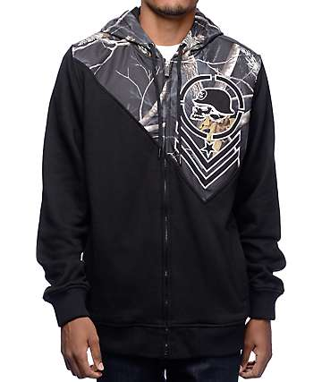 Metal Mulisha Hidden Zip Real Tree Black Zip Up Hoodie
