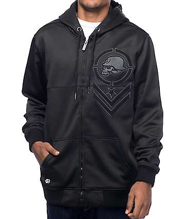 Metal Mulisha Lead Black Tech Fleece Zip Up Hoodie