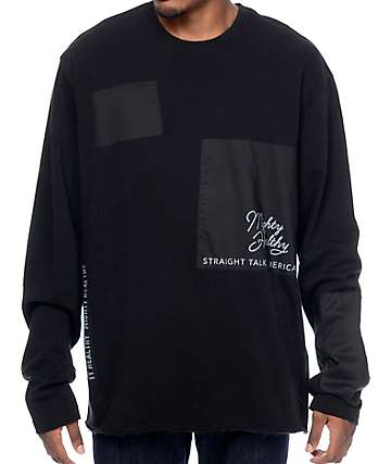 Mighty Healthy Patched Long Sleeve Black T-Shirt