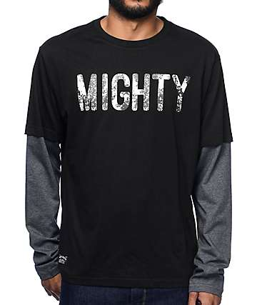 Mighty Healthy Slat Twofer Black Long Sleeve T-Shirt