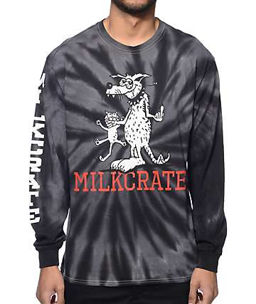 Milkcrate Bird Dog Tie Dye Grey Long Sleeve T-Shirt