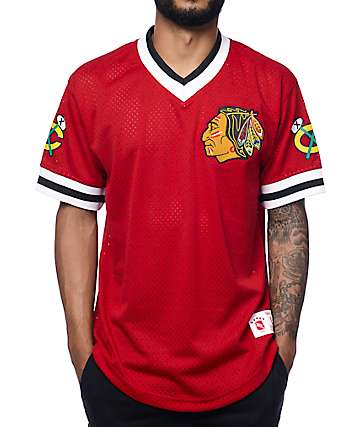 Mitchell & Ness Blackhawks Red Mesh V Neck Jersey