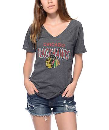Mitchell & Ness Chicago Blackhawks Grey V-Neck T-Shirt