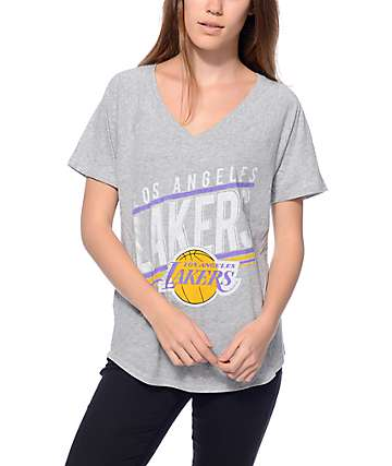 Mitchell & Ness LA Lakers Grey V-Neck T-Shirt