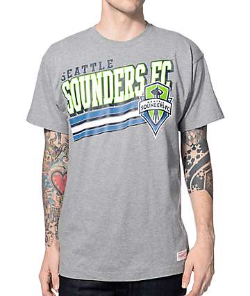 Mitchell & Ness Seattle Sounders Bold Block Heather Grey T-Shirt