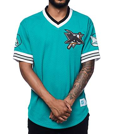Mitchelll & Ness San Jose Sharks Teal Mesh V Neck Jersey