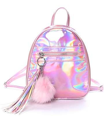 Mochila mini en rosa iridiscente
