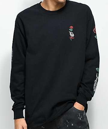 N°Hours Long Stem Black Long Sleeve T-Shirt