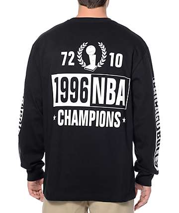 NBA Mitchell and Ness Bulls Free Throw Black Long Sleeve T-Shirt