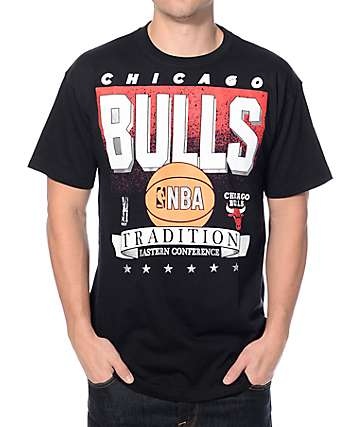 NBA Mitchell and Ness Bulls Set Shot Black T-Shirt