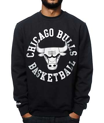 NBA Mitchell and Ness Bulls Silver Metallic Crew Neck Sweatshirt