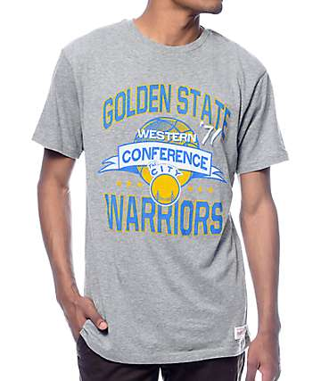 NBA Mitchell and Ness Golden State Warriors Grey T-Shirt