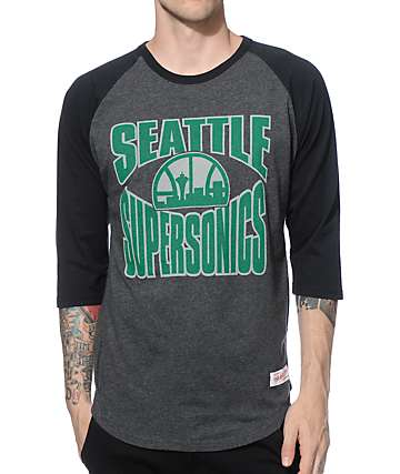 NBA Mitchell and Ness Sonics Baseball T-Shirt