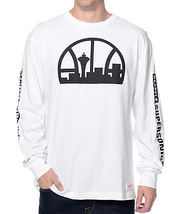 NBA Mitchell and Ness Sonics Free Throw White Long Sleeve T-Shirt