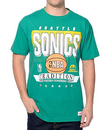 NBA Mitchell and Ness Sonics Set Shot Green T-Shirt