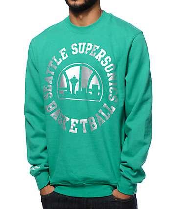 NBA Mitchell and Ness Sonics Silver Metallic Crew Neck Sweatshirt