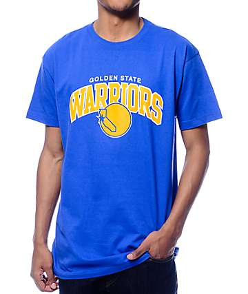 NBA Mitchell and Ness Warriors Arch Traditional Blue T-Shirt