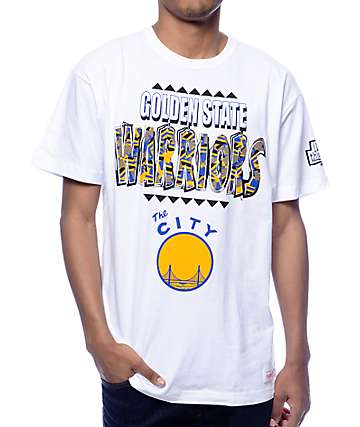 NBA Mitchell and Ness Warriors Runnin The Clock White T-Shirt
