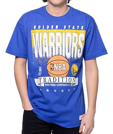 NBA Mitchell and Ness Warriors Set Shot Blue T-Shirt