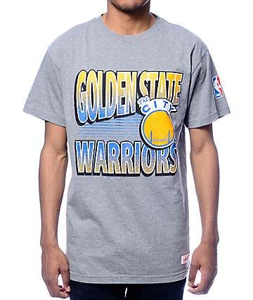 NBA Mitchell and Ness Warriors Traditional Grey T-Shirt