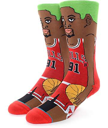 NBA Stance Rodman Cartoon Crew Socks
