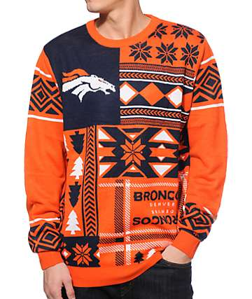 NFL Forever Collectibles Broncos Patches Sweater