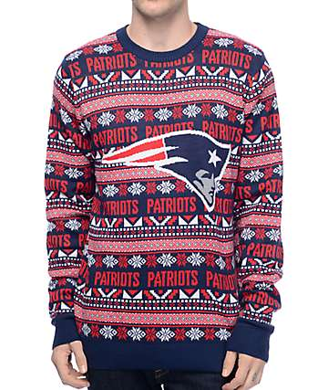NFL Forever Collectibles Patriots Aztec Ugly Sweater