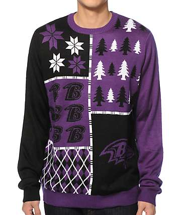 NFL Forever Collectibles Ravens Busy Block Sweater