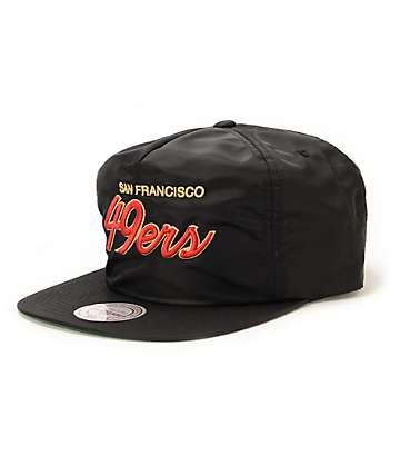 NFL Mitchell & Ness 49ers Script Black Nylon Strapback Hat